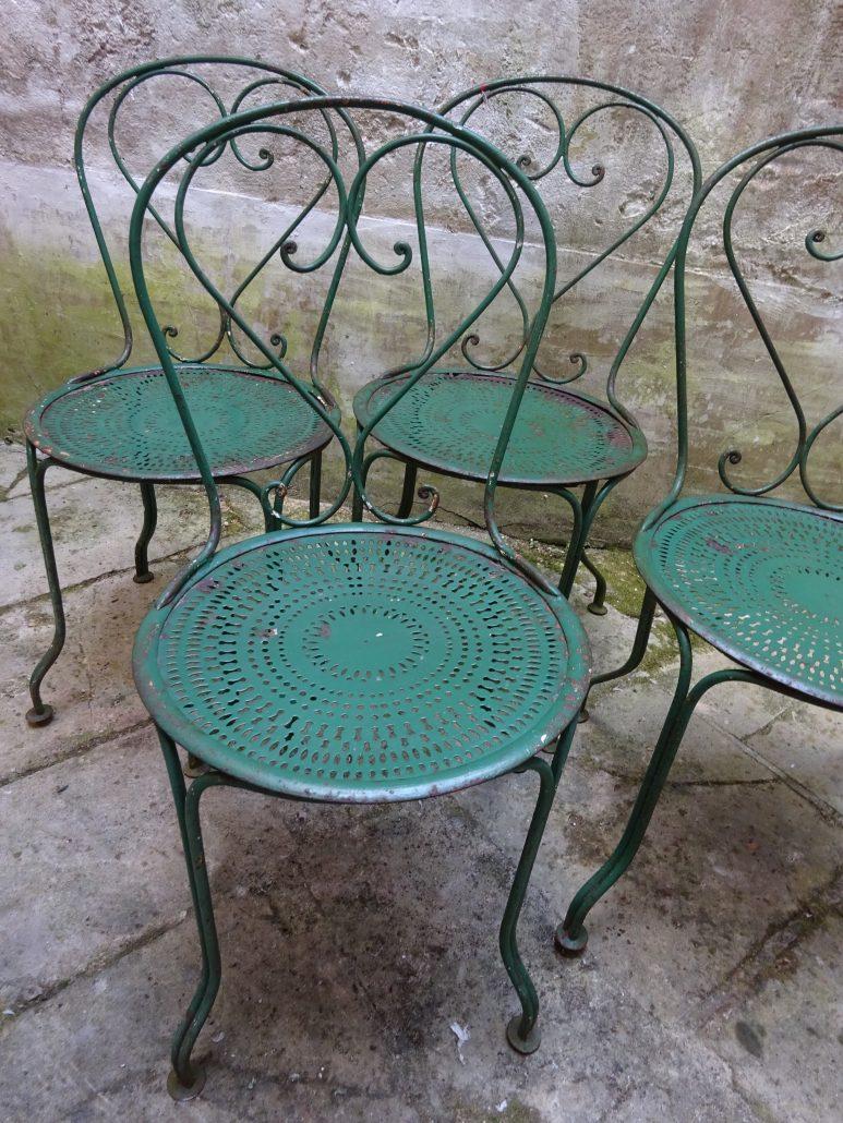4 chaises de jardin en fer forg antiquit s histoire - Chaise en fer forge pour jardin ...